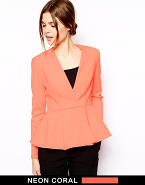 Asos blazer in fluro scuba with peplum