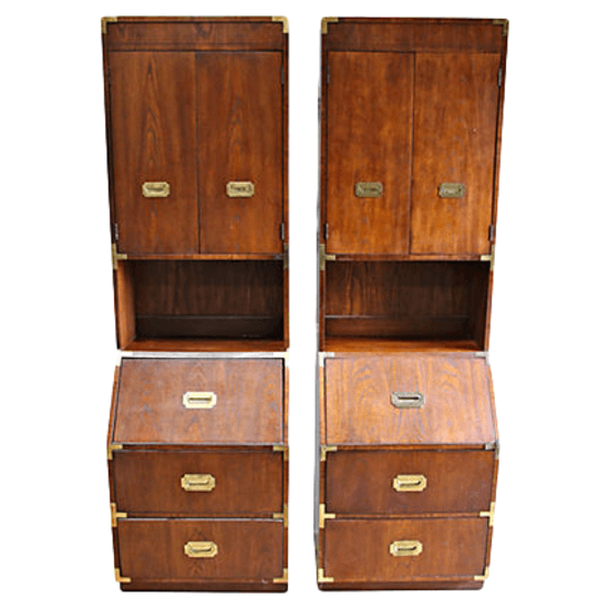 campaign style secretary hutches, pair