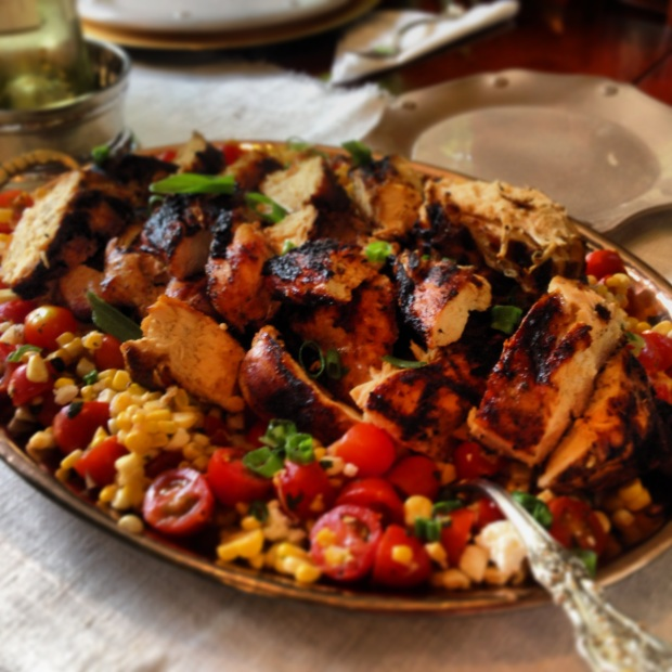Grilled chicken with corn and tomato salad