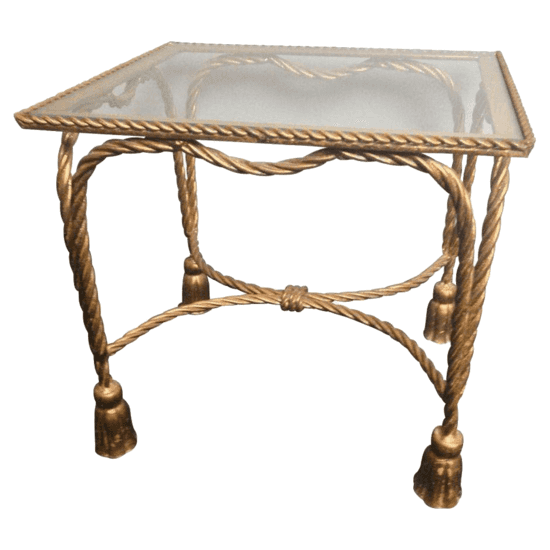 italian gilt rope and tassel table