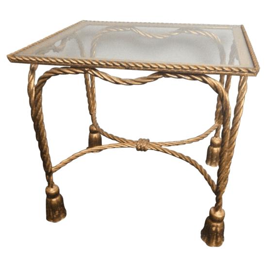 italian gilt rope and tassel table